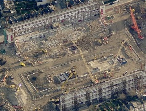 Aerial views of the former locations of old football stadiums